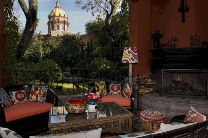 Outdoor Sala looking at Las Monjas Church